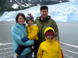 Family celebration: Erika, her two boys, and hubby on trip to Alaska glaciers to celebrate 15th wedding anniversary